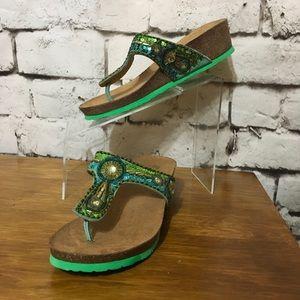 White Mountain Boho Leather Cork Thong Sandals  8